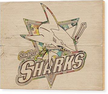 San Jose Sharks Vintage Poster Wood Print by Florian Rodarte