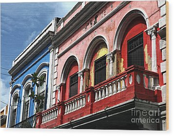 San Juan Balcony Wood Print by John Rizzuto