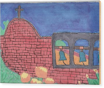 Wood Print featuring the painting San Juan Capistrano by Artists With Autism Inc