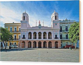 Wood Print featuring the photograph San Juan City Hall by Ricardo J Ruiz de Porras