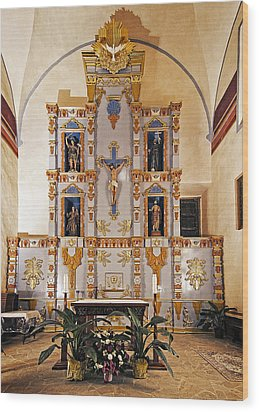Wood Print featuring the photograph San Juan Mission Altar by Andy Crawford