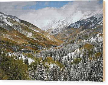 San Juan Mountains After Recent Snowstorm Wood Print by Jetson Nguyen
