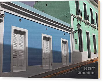San Juan Street Colors Wood Print by John Rizzuto