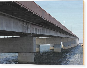 San Mateo Bridge In The California Bay Area 5d21897 Wood Print by Wingsdomain Art and Photography