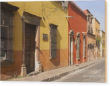 San Miguel Street Mexico Wood Print