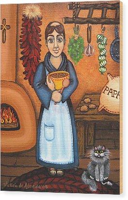 San Pascual Bad Kitty Wood Print by Victoria De Almeida