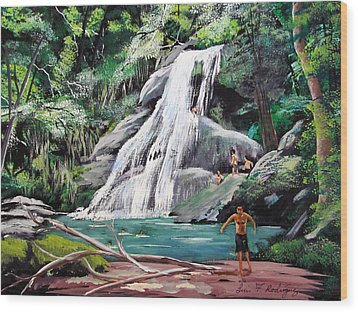 San Sebastian Waterfall Wood Print by Luis F Rodriguez