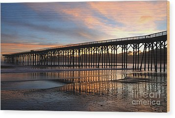 San Simeon Pier Wood Print by Vivian Christopher