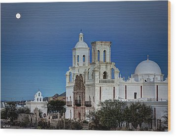 San Xavier Del Bac At Moonset 1 Wood Print