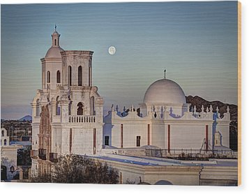 San Xavier Del Bac At Moonset 2 Wood Print