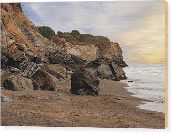 Sand And Rocks Wood Print