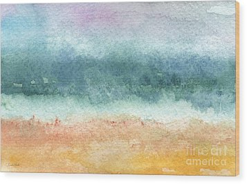Sand And Sea Wood Print by Linda Woods
