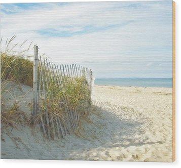 Sand Beach Ocean And Dunes Wood Print
