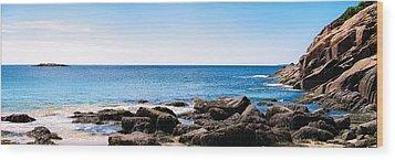 Sand Beach Rocky Shore   Wood Print