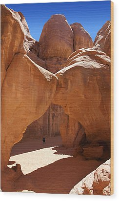 Sand Dune Arch With Gary Wood Print by Mike McGlothlen
