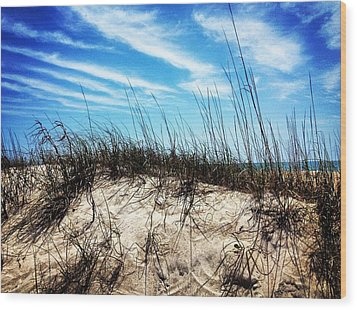 Sand Dune At Alantic Beach Wood Print by Joan Meyland
