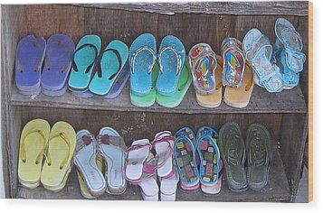 Sandals Wood Print by Russell Smidt