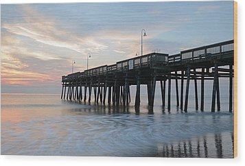 Sandbridge Pier Wood Print