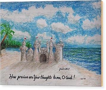 Sandcastle Wood Print by Catherine Saldana
