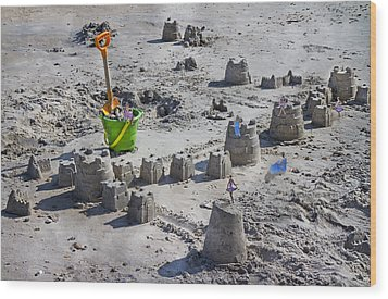 Sandcastle Squatters Wood Print by Betsy Knapp