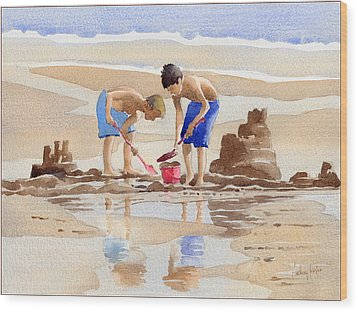 Sandcastles Wood Print by Anthony Forster