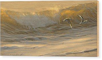 Sanderlings Wood Print by Aaron Blaise
