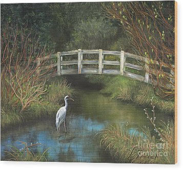 Sandhill Crane At Spring Creek Wood Print