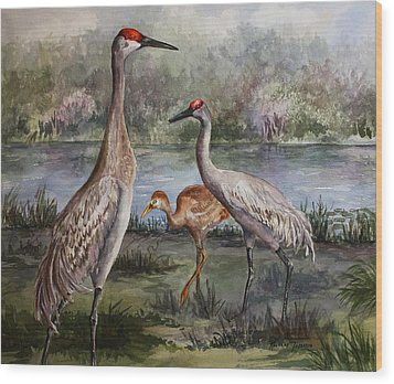 Sandhill Cranes On Alert Wood Print
