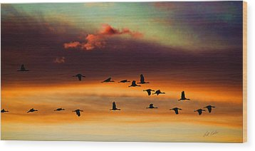 Sandhill Cranes Take The Sunset Flight Wood Print by Bill Kesler