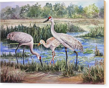 Sandhills By The Pond Wood Print