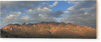Sandia Crest At Sunset Wood Print by Alan Vance Ley