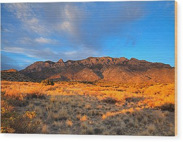 Sandia Crest Sunset Wood Print by Alan Vance Ley