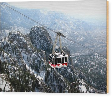 Sandia Tram Above The Snowy Peaks Wood Print