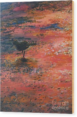 Sandpiper Cape May Wood Print by Eric  Schiabor