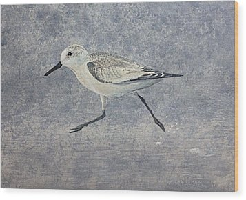 Wood Print featuring the painting Sandpiper by Stan Tenney