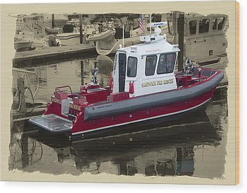 Sandwich Cape Cod Fire Rescue Boat Wood Print by Constantine Gregory