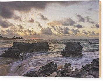 Sandy Beach Sunrise 1 - Oahu Hawaii Wood Print by Brian Harig