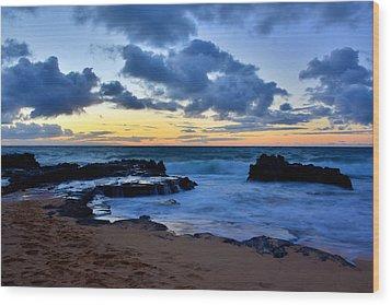 Sandy Beach Sunrise 6 - Oahu Hawaii Wood Print by Brian Harig