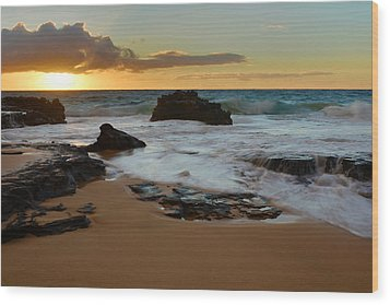 Sandy Beach Sunrise 7 - Oahu Hawaii Wood Print by Brian Harig
