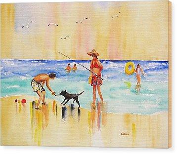 Sandy Dog At The Beach Wood Print by Carlin Blahnik