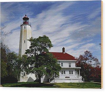 Sandy Hook Lighthouse Nj Wood Print by Skip Willits
