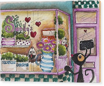 Sandy's Floral Shop Wood Print by Lucia Stewart