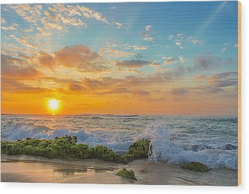 Sandy Beach Sunrise 3 Wood Print
