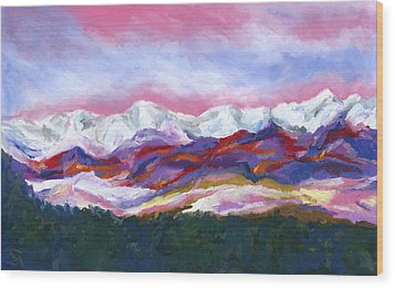 Wood Print featuring the painting Sangre De Cristo Mountains by Stephen Anderson