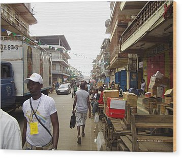 Wood Print featuring the photograph Sani Abacha Street- Year 2011 by Mudiama Kammoh
