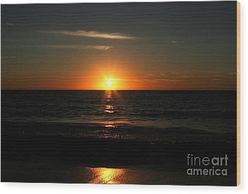 Sanibel At Sunset Wood Print