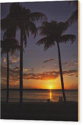 Sanibel Island Sunset Wood Print by Kim Hojnacki