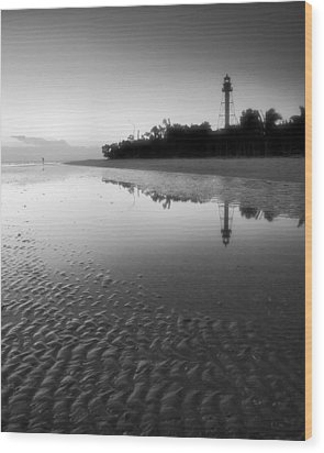 Sanibel Lighthouse And Beach II Wood Print