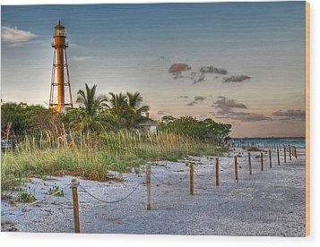 Sanibel Lighthouse Wood Print by Geraldine Alexander