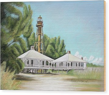 Sanibel Lighthouse Wood Print by Melinda Saminski